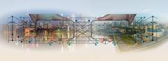 Картина графичная панорама города citypanorama