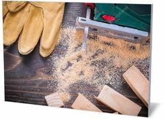 Картина промышленность Электрический лобзик опилок, рабочие перчатки Electric jigsaw of sawdust, work gloves-076055