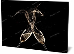 Холст праздники и события Фужеры на черном фоне Wine glasses on a black background-023424