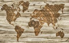 Холст Карта мира бумага