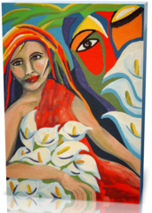 Картина девушка и цветы painting-1737263