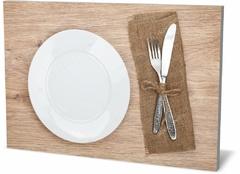 Холст еда и напитки Пустой набор пластины и серебро Empty plate set and silver-287110