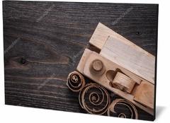 Картина промышленность Рубанок деревянный, доски, стружка Wooden plank, boards, shavings-598800