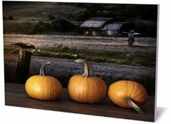 Постер праздника и события Тыквы на столе в ночное время Pumpkin on the table at night-810017